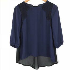 Soprano Women's Blouse Top 3/4 Sleeve Flowy Sheer